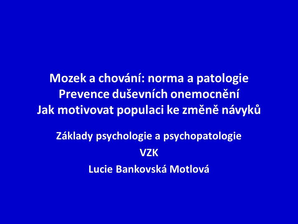 Základy psychologie a psychopatologie VZK Lucie Bankovská Motlová