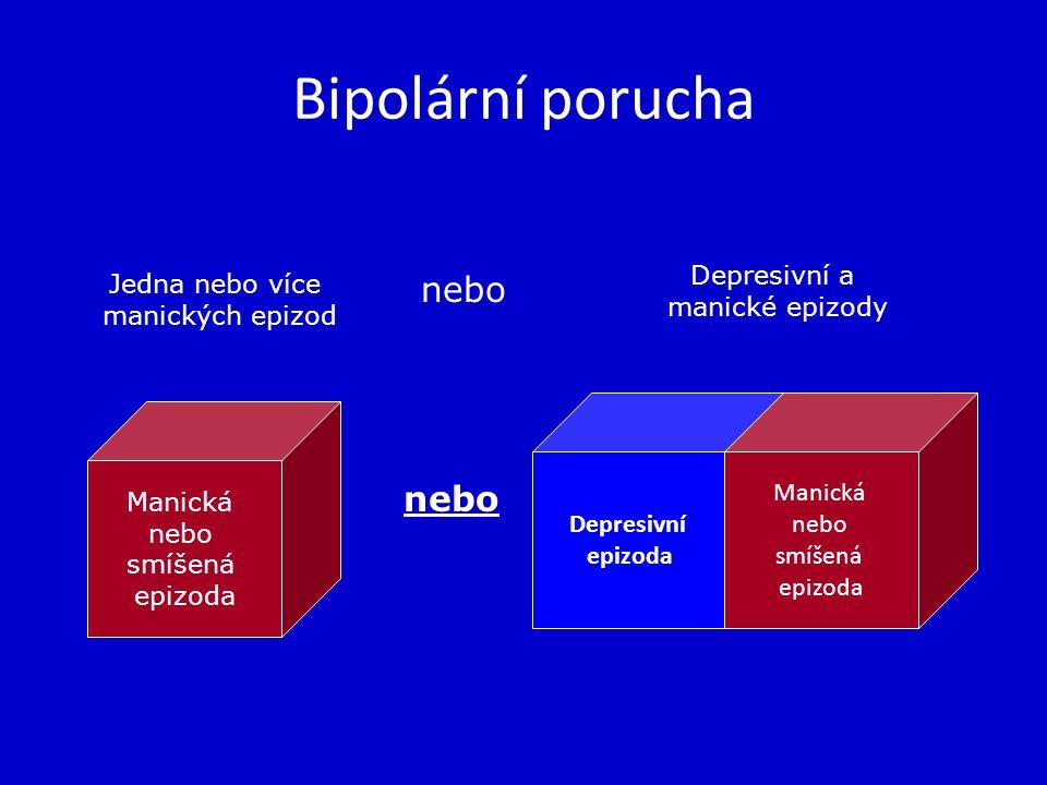 Bipolární porucha nebo nebo Depresivní a manické epizody