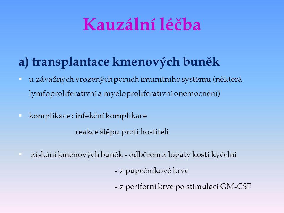 Kauzální léčba a) transplantace kmenových buněk
