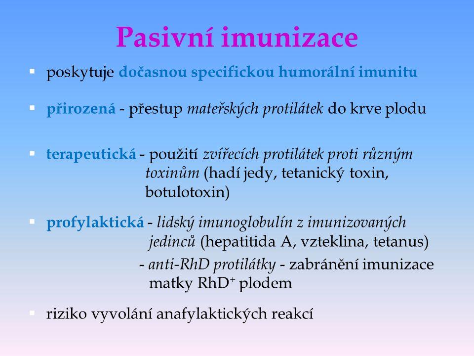 Pasivní imunizace poskytuje dočasnou specifickou humorální imunitu