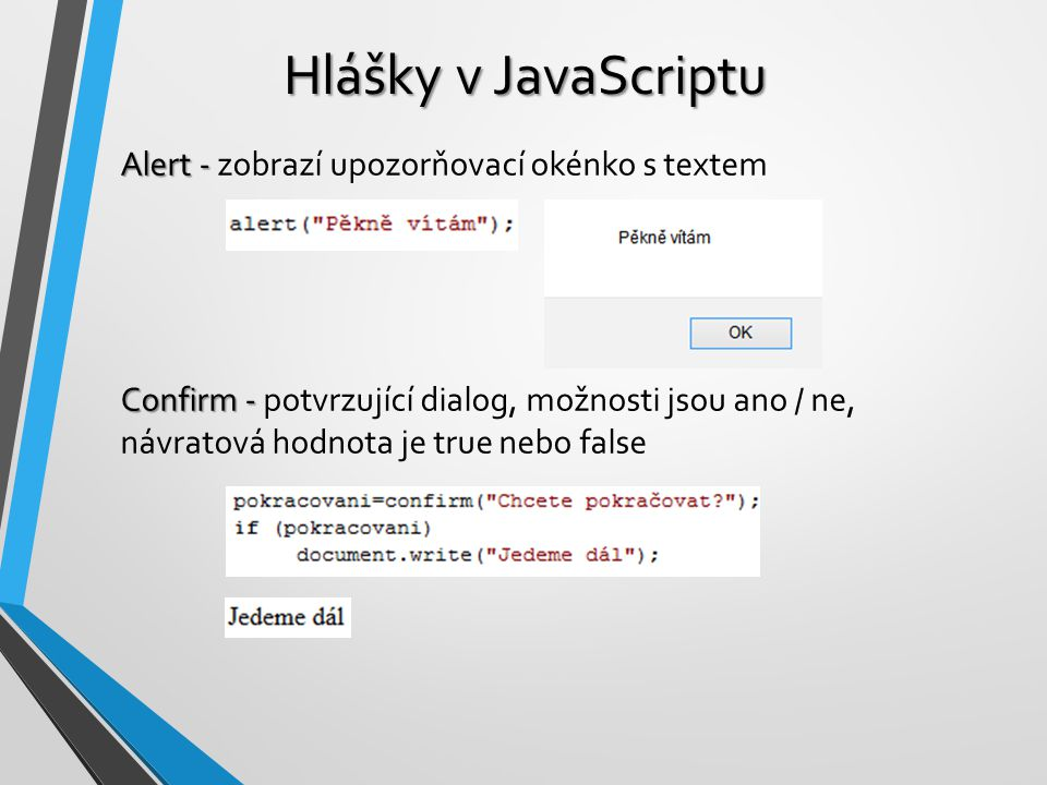 Hlášky v JavaScriptu