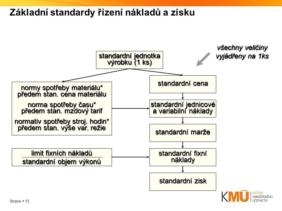 Základní standardy řízení nákladů a zisku
