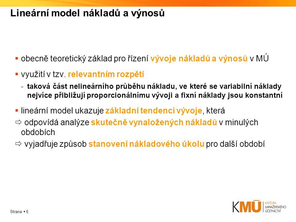 Lineární model nákladů a výnosů