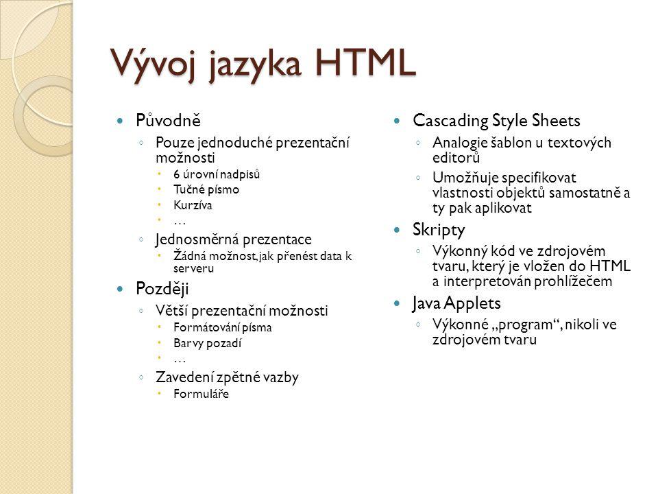 Vývoj jazyka HTML Původně Později Cascading Style Sheets Skripty