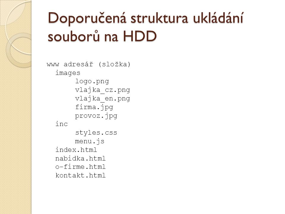 Doporučená struktura ukládání souborů na HDD