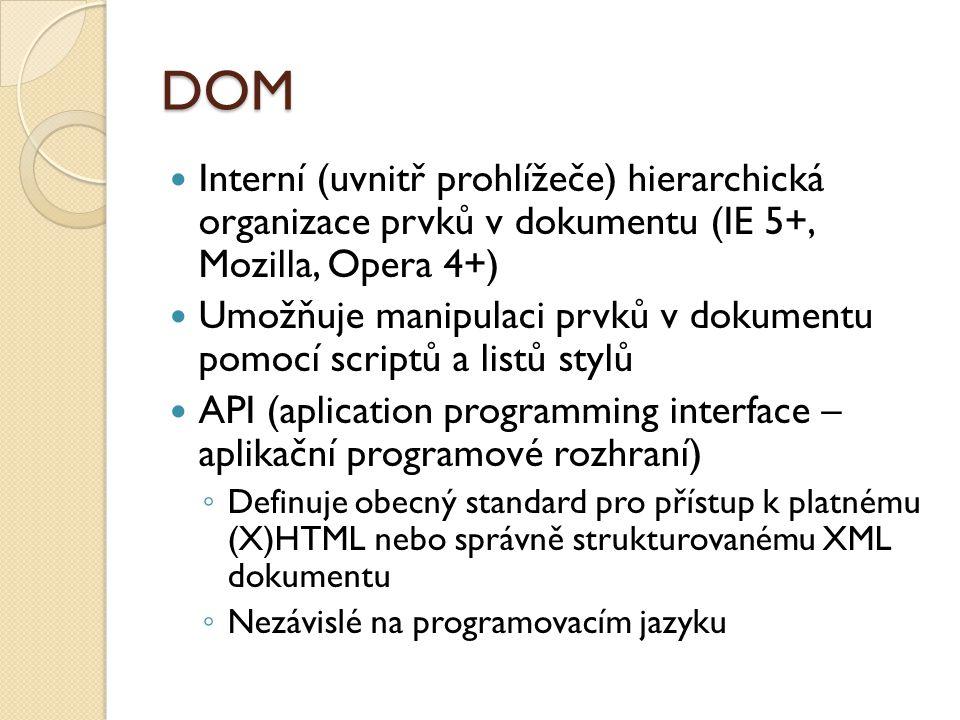 DOM Interní (uvnitř prohlížeče) hierarchická organizace prvků v dokumentu (IE 5+, Mozilla, Opera 4+)