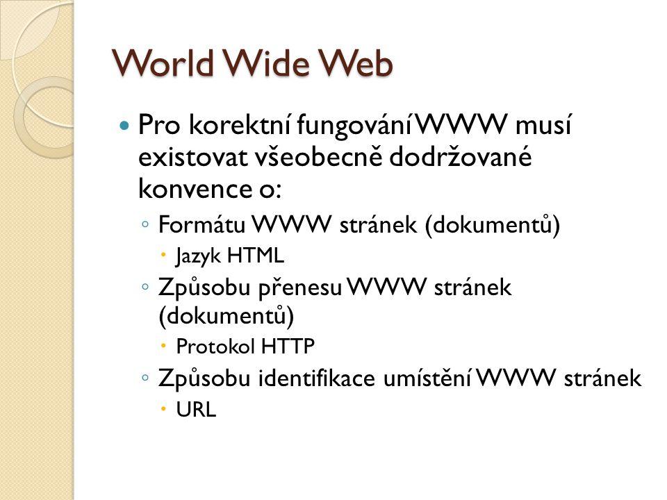 World Wide Web Pro korektní fungování WWW musí existovat všeobecně dodržované konvence o: Formátu WWW stránek (dokumentů)