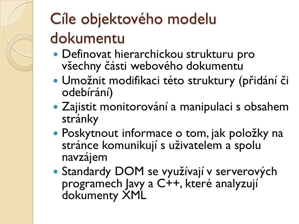 Cíle objektového modelu dokumentu