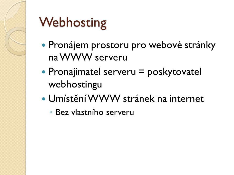 Webhosting Pronájem prostoru pro webové stránky na WWW serveru