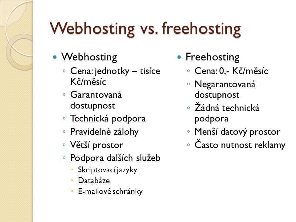 Webhosting vs. freehosting