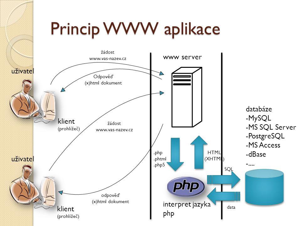 Princip WWW aplikace www server uživatel databáze MySQL MS SQL Server