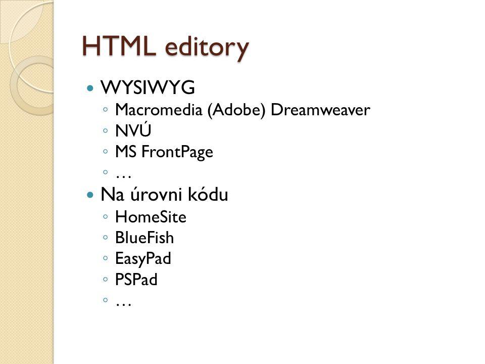 HTML editory WYSIWYG Na úrovni kódu Macromedia (Adobe) Dreamweaver NVÚ