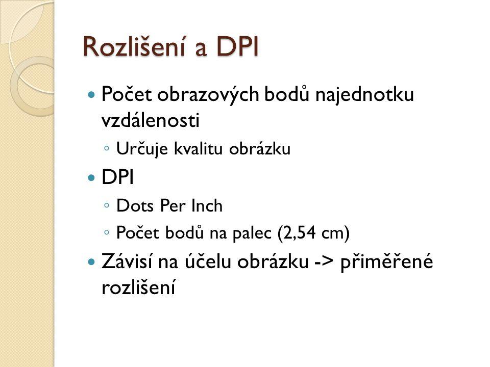 Rozlišení a DPI Počet obrazových bodů najednotku vzdálenosti DPI
