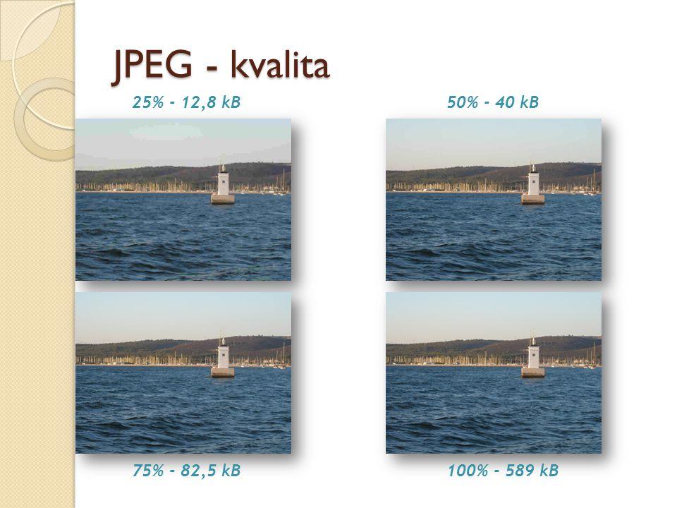 JPEG - kvalita 25% - 12,8 kB 50% - 40 kB 75% - 82,5 kB 100% - 589 kB