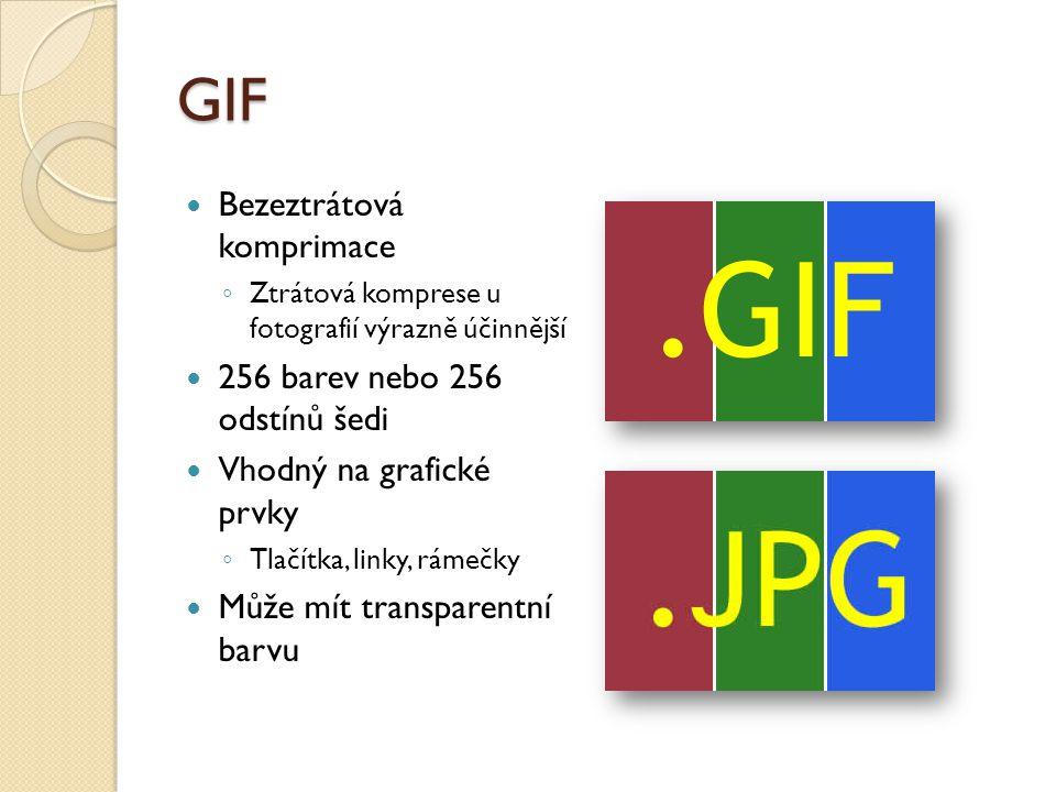 GIF Bezeztrátová komprimace 256 barev nebo 256 odstínů šedi
