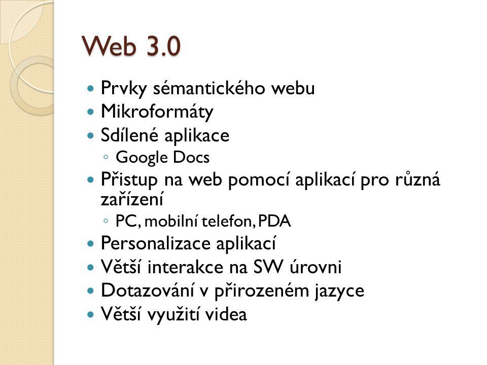 Web 3.0 Prvky sémantického webu Mikroformáty Sdílené aplikace