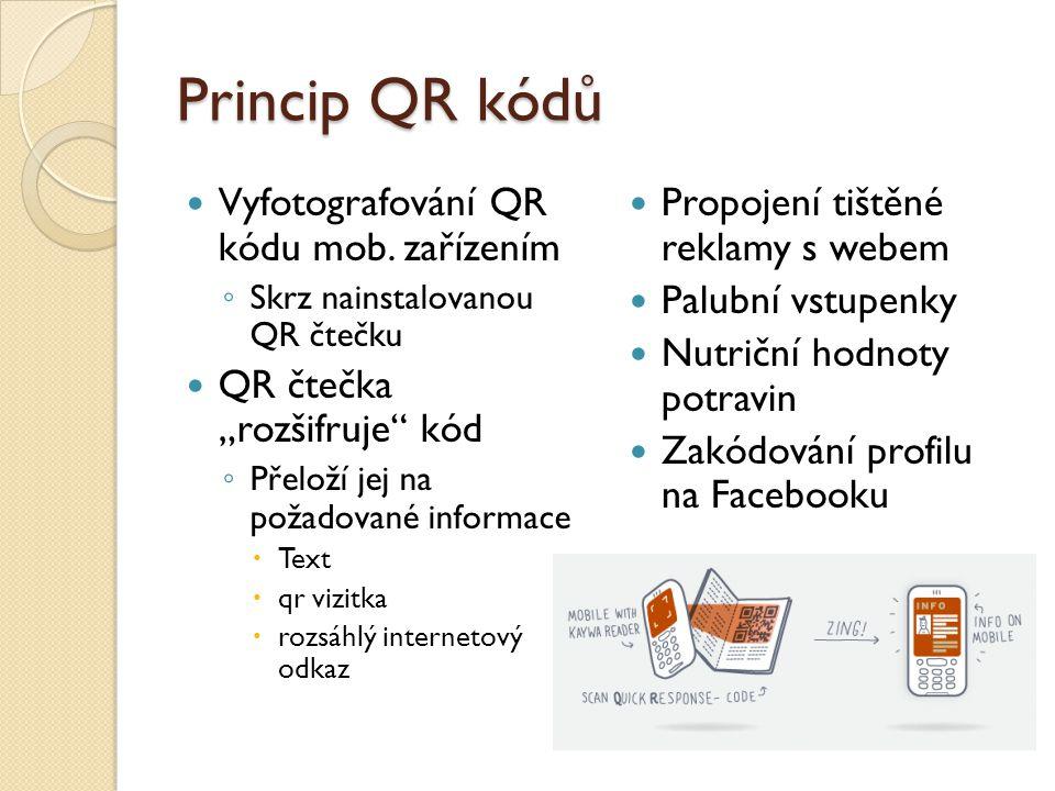 Princip QR kódů Vyfotografování QR kódu mob. zařízením