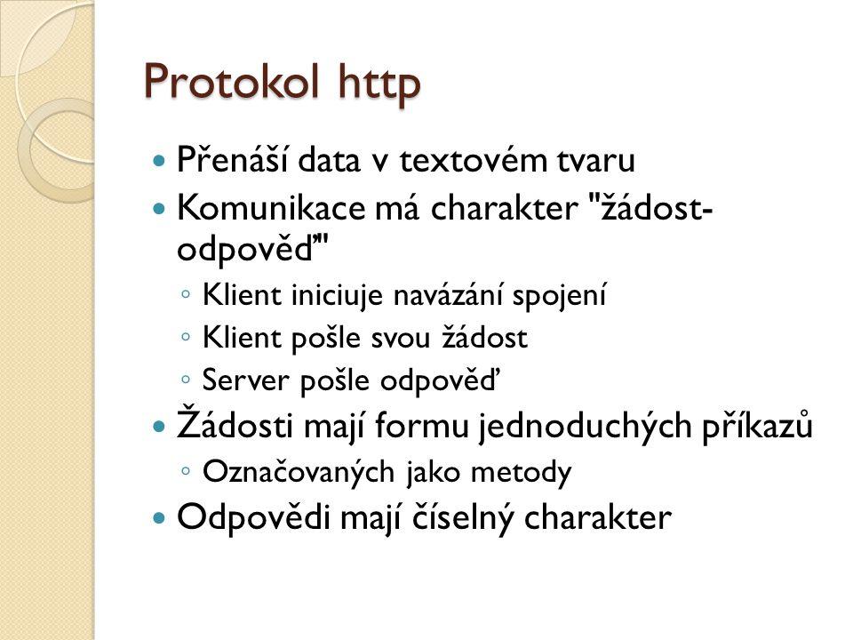 Protokol http Přenáší data v textovém tvaru