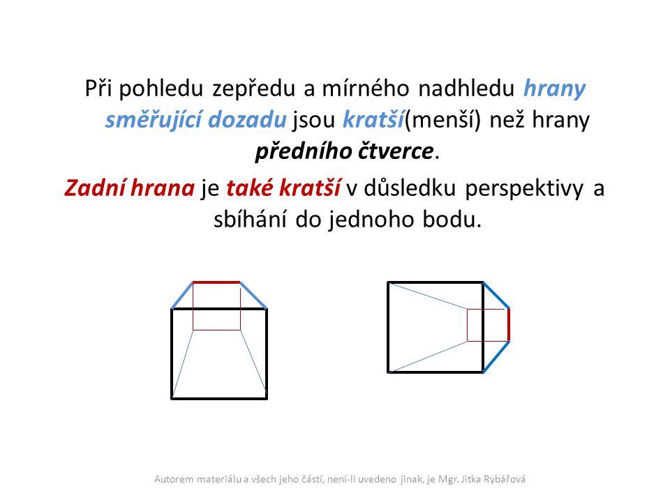 Při pohledu zepředu a mírného nadhledu hrany směřující dozadu jsou kratší(menší) než hrany předního čtverce. Zadní hrana je také kratší v důsledku perspektivy a sbíhání do jednoho bodu.