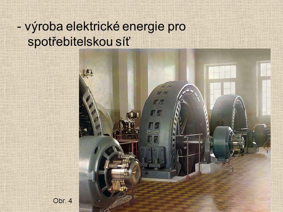 - výroba elektrické energie pro spotřebitelskou síť