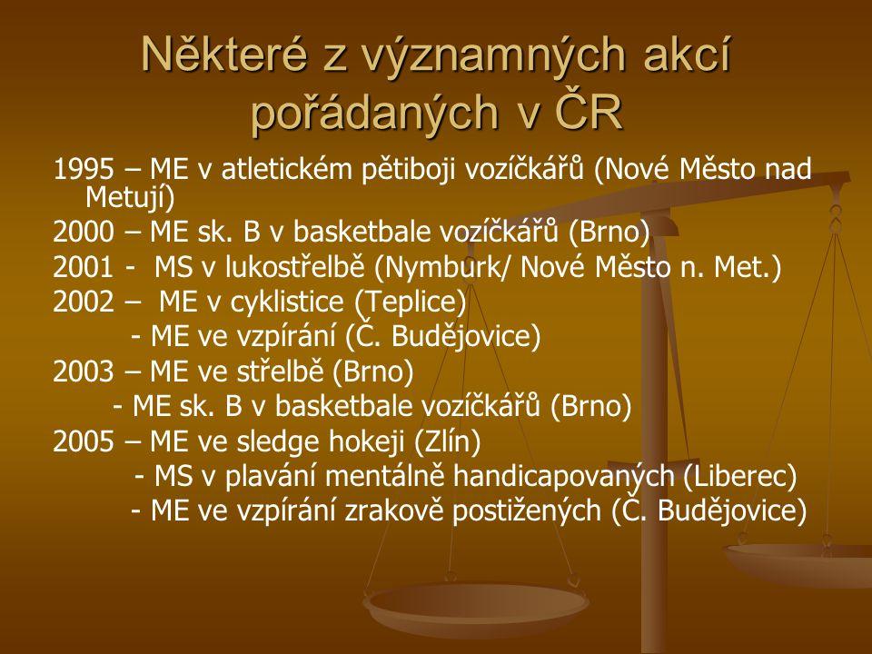 Některé z významných akcí pořádaných v ČR
