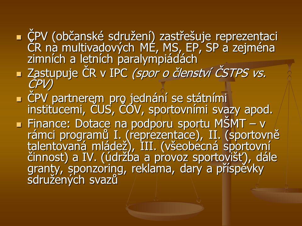 ČPV (občanské sdružení) zastřešuje reprezentaci ČR na multivadových ME, MS, EP, SP a zejména zimních a letních paralympiádách
