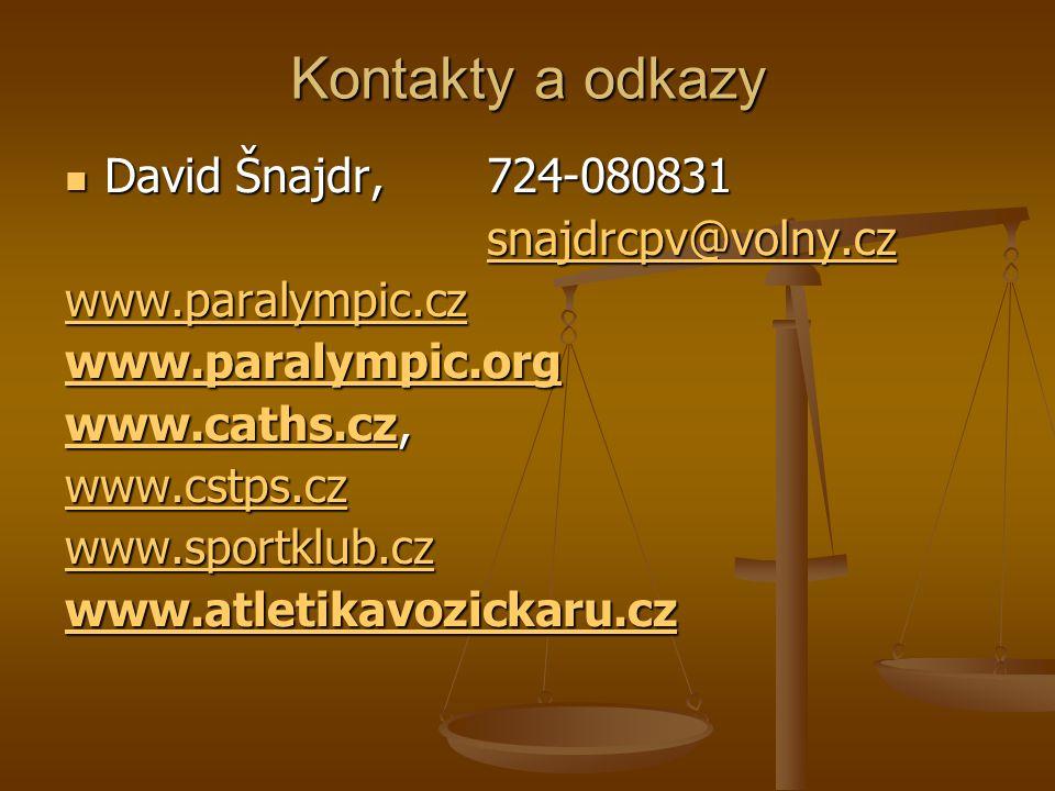 Kontakty a odkazy David Šnajdr, 724-080831 snajdrcpv@volny.cz