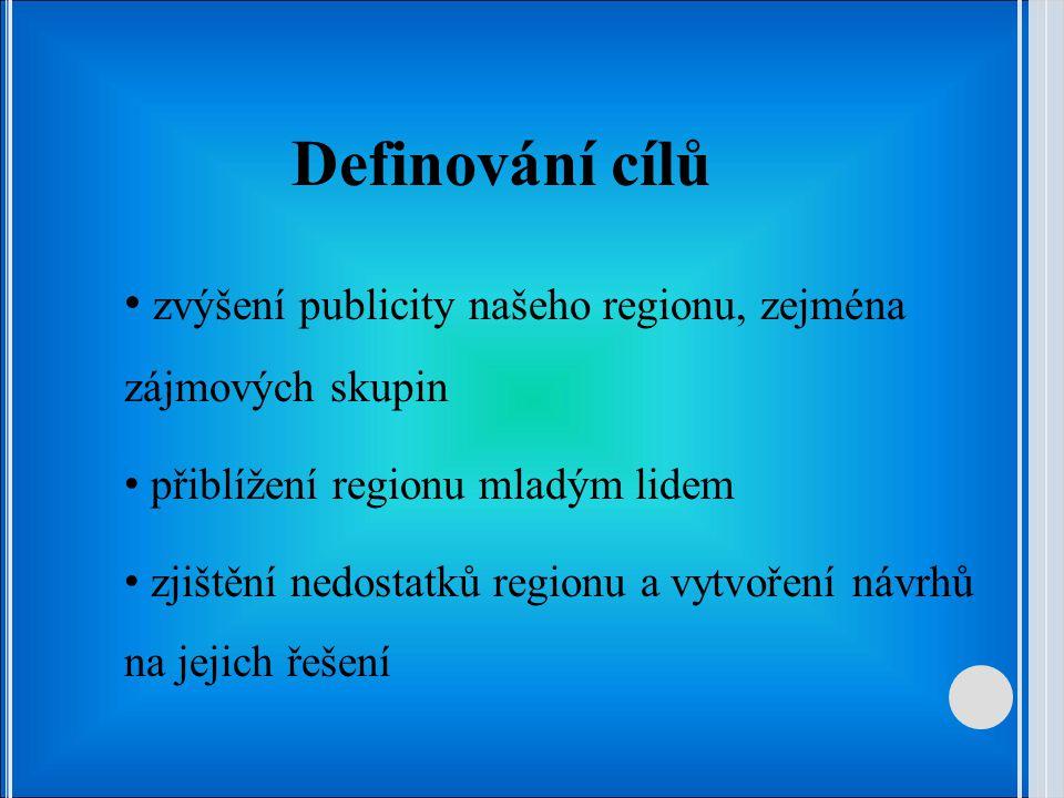 Definování cílů zvýšení publicity našeho regionu, zejména zájmových skupin. přiblížení regionu mladým lidem.