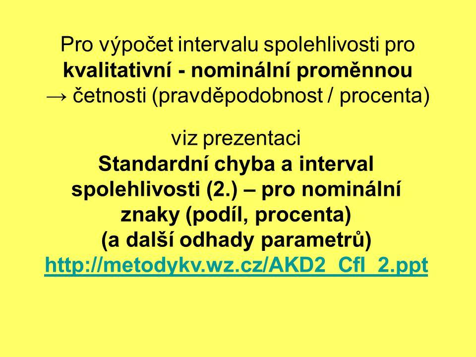 Pro výpočet intervalu spolehlivosti pro kvalitativní - nominální proměnnou → četnosti (pravděpodobnost / procenta)