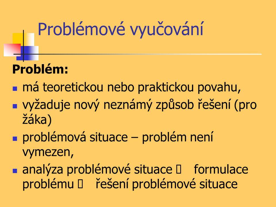Problémové vyučování Problém: má teoretickou nebo praktickou povahu,