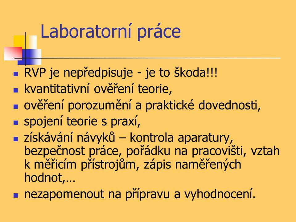 Laboratorní práce RVP je nepředpisuje - je to škoda!!!