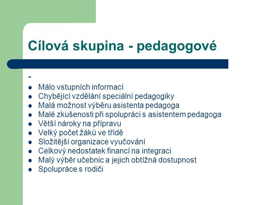 Cílová skupina - pedagogové