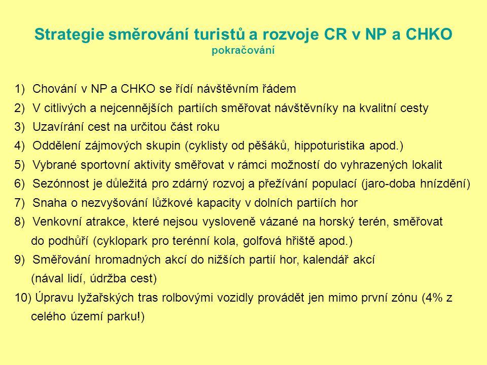 Strategie směrování turistů a rozvoje CR v NP a CHKO