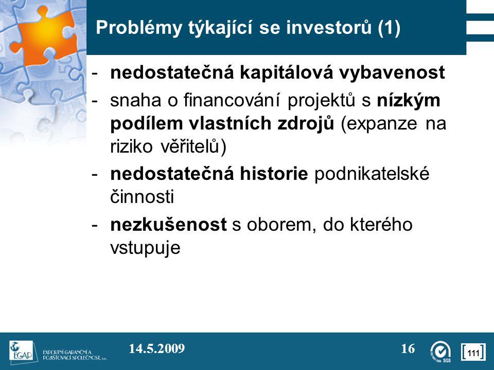 Problémy týkající se investorů (1)