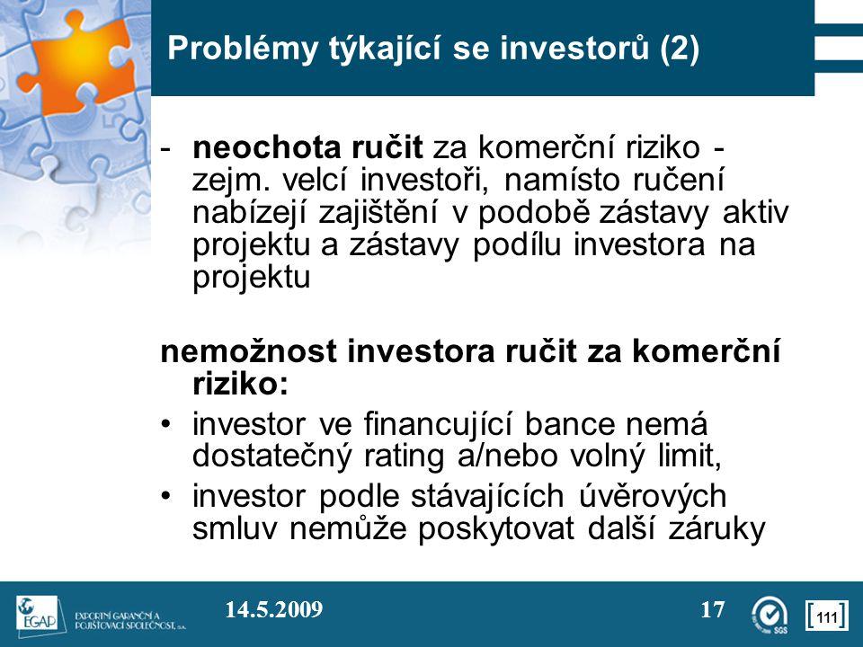 Problémy týkající se investorů (2)