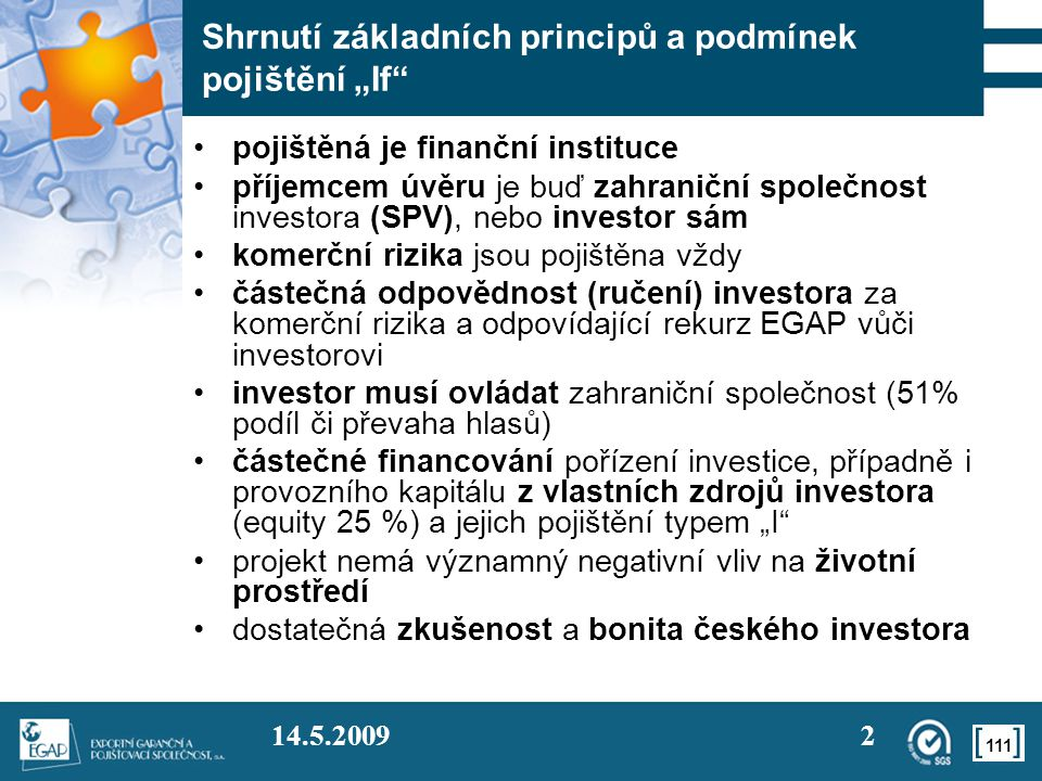 """Shrnutí základních principů a podmínek pojištění """"If"""