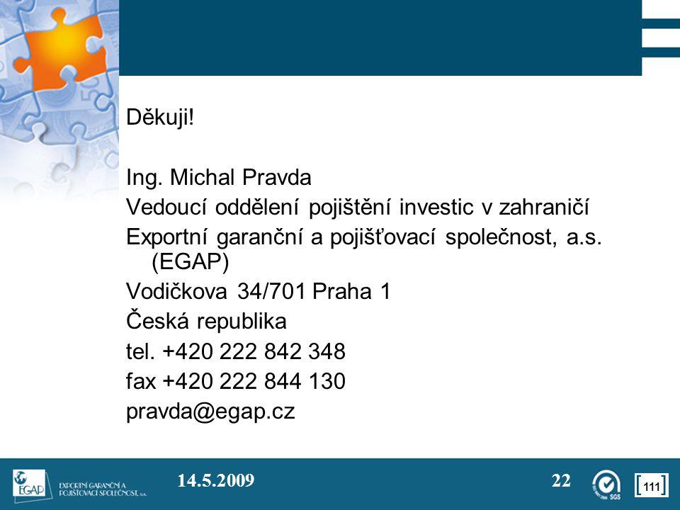 Vedoucí oddělení pojištění investic v zahraničí