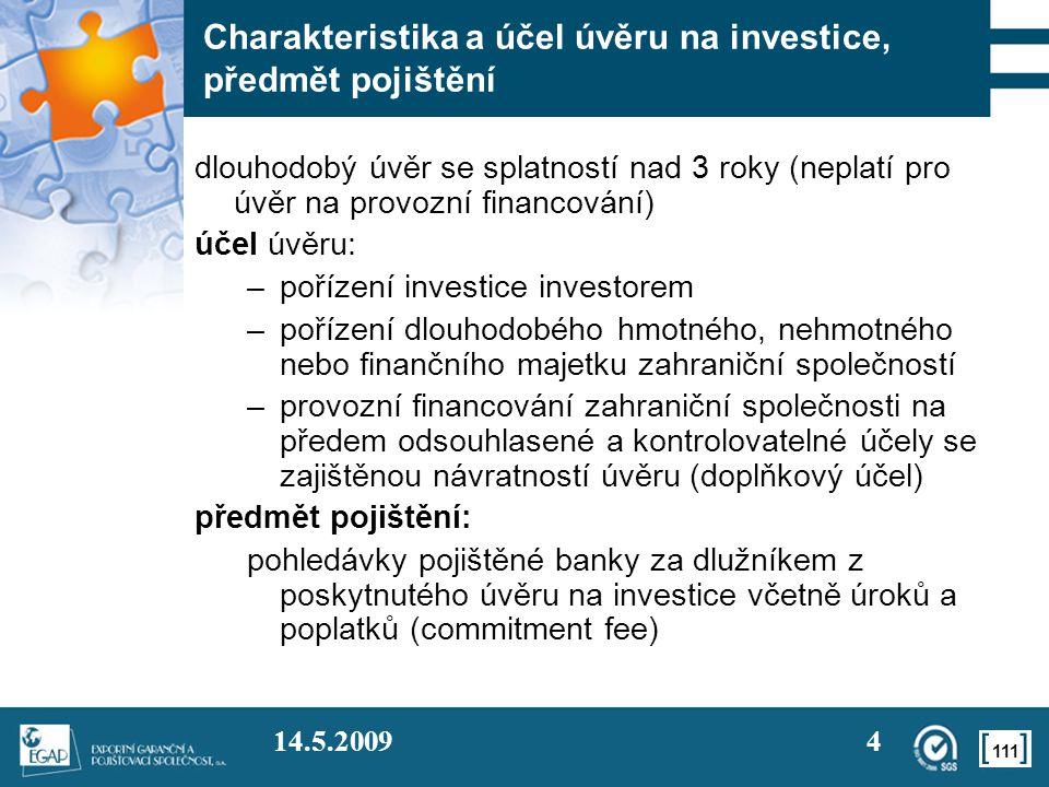 Charakteristika a účel úvěru na investice, předmět pojištění