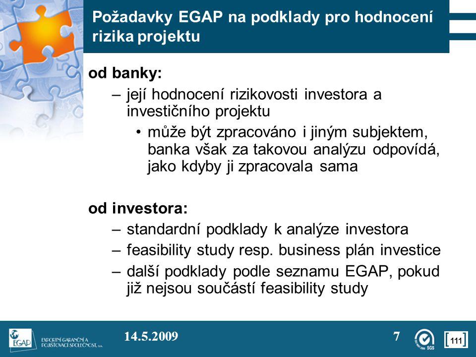 Požadavky EGAP na podklady pro hodnocení rizika projektu