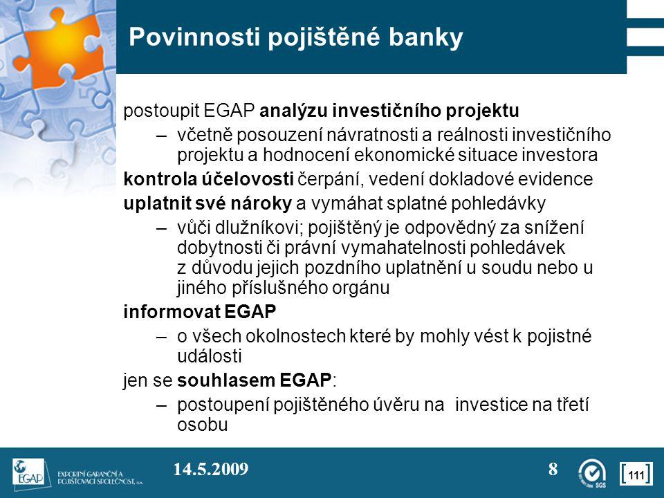Povinnosti pojištěné banky