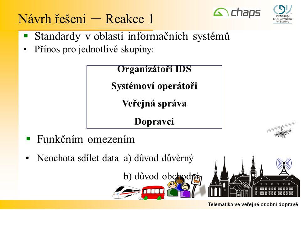 Návrh řešení – Reakce 1 Standardy v oblasti informačních systémů