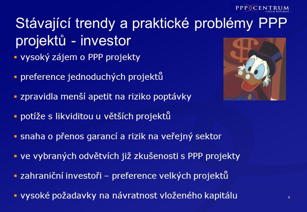 Stávající trendy a praktické problémy PPP projektů banky