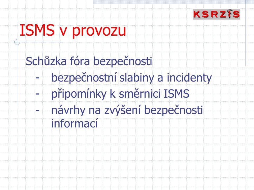 ISMS v provozu Schůzka fóra bezpečnosti
