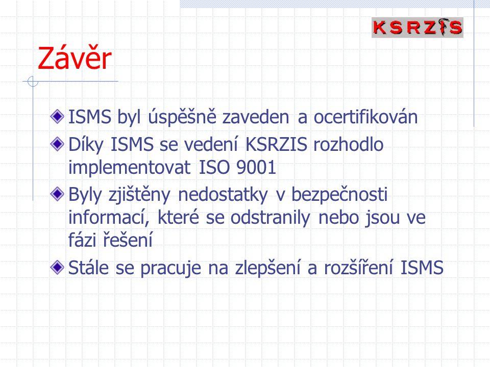 Závěr ISMS byl úspěšně zaveden a ocertifikován