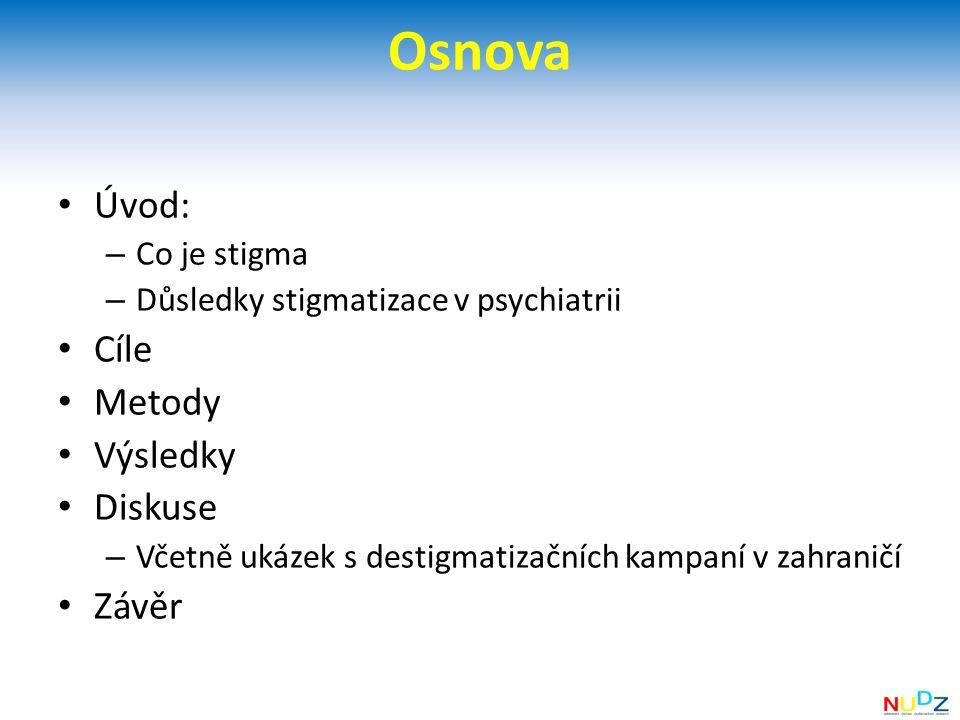 Osnova Úvod: Cíle Metody Výsledky Diskuse Závěr Co je stigma