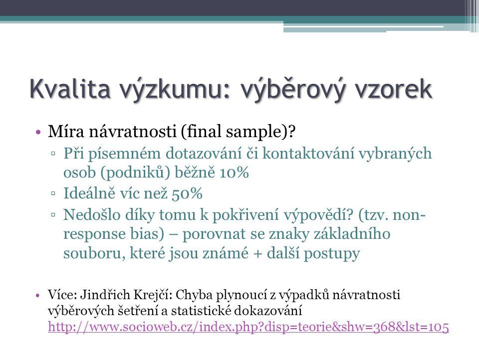 Kvalita výzkumu: výběrový vzorek