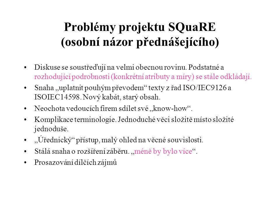 Problémy projektu SQuaRE (osobní názor přednášejícího)