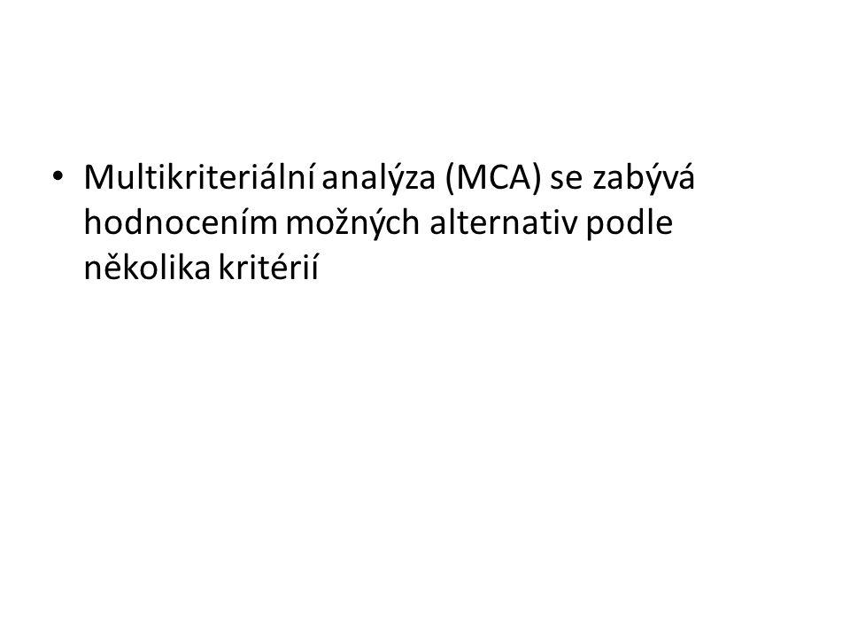 Multikriteriální analýza (MCA) se zabývá hodnocením možných alternativ podle několika kritérií