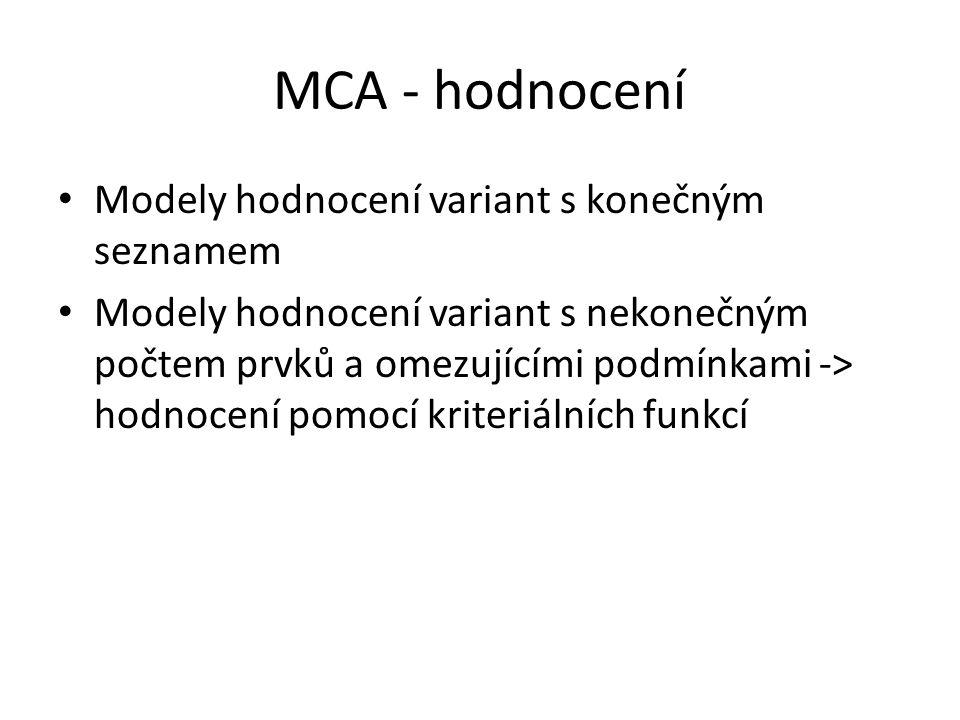 MCA - hodnocení Modely hodnocení variant s konečným seznamem