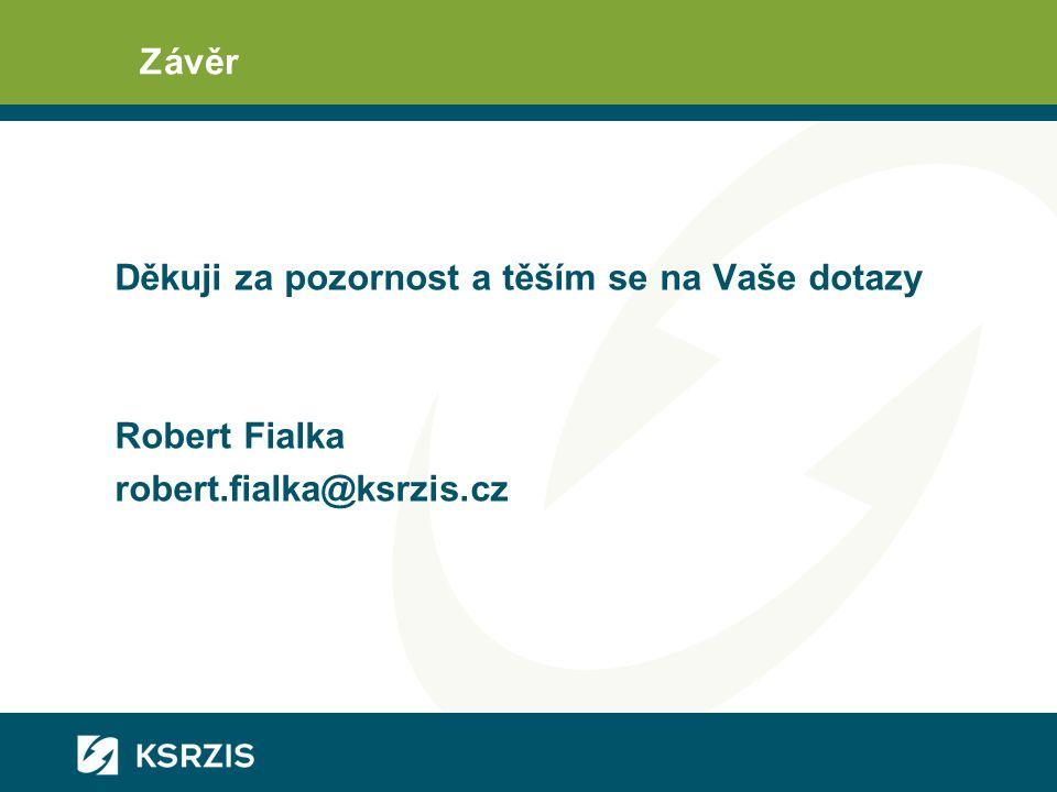 Závěr Děkuji za pozornost a těším se na Vaše dotazy Robert Fialka robert.fialka@ksrzis.cz